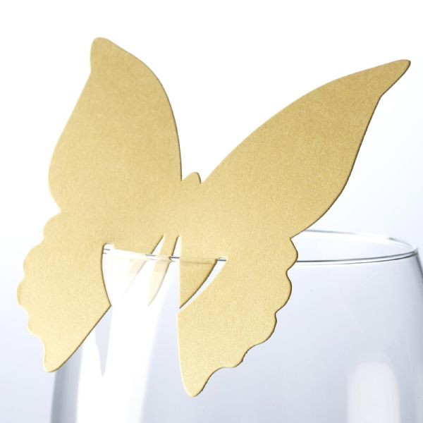 Elegant Butterfly Place Cards For On Glasses - Gold (10)